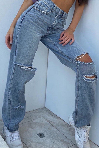 front_Magdalen Eartha Blue Ripped Knee Jeans