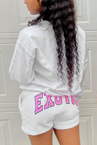 back_Casual Crew Neck Letter White Sweatshirts & Hoodies
