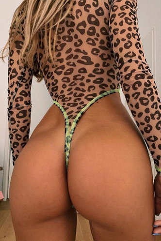 back_Leopard Print Leopard Print One-Piece Swimsuits