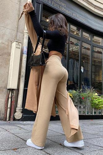 front_Sheila Eden Khaki Wide Leg Trousers