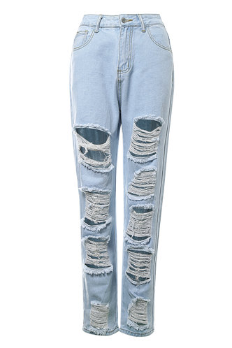 front_Not An Ordinary Girl Pastel Blue Distressed Jeans