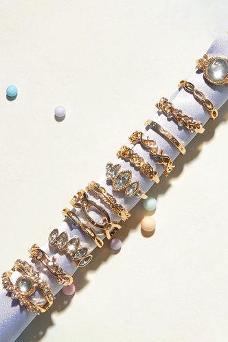 back_Maud Eleanore Gold Rhinestone Charm Ring 13pcs