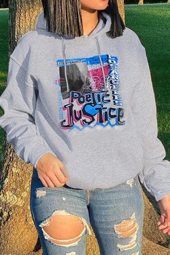 front_Preppy Street Hooded Collar Graphic Print Pocket Light Grey Sweatshirts & Hoodies
