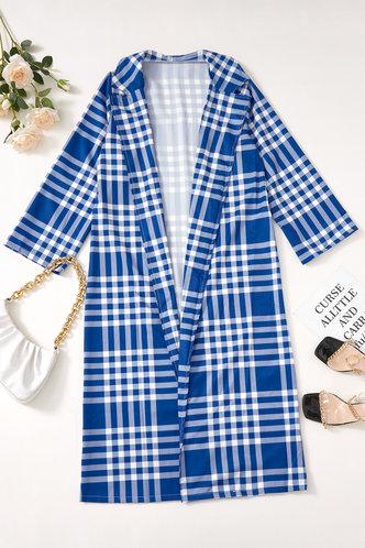 back_Sheila Evangeline Blue Plaid Print Longline Coat