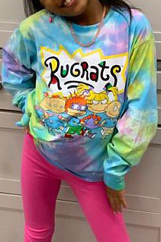 front_Street Crew Neck Tie Dye Graphic Tie Dye Sweatshirts & Hoodies