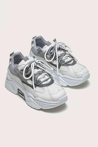 front_Odelette Eartha White And Grey Lace Up Front Chunky Sneakers