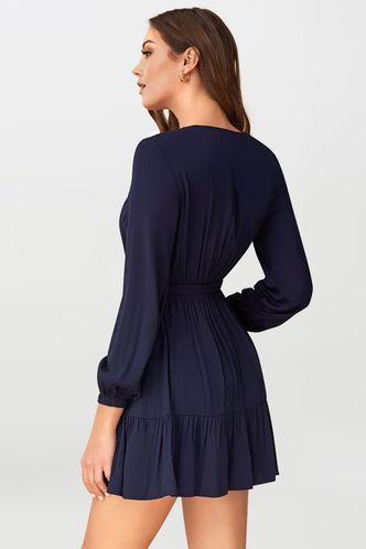 back_Long Night Dark Navy Mini Dress