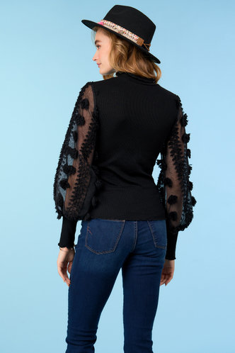 back_Always Yours Black Sheer Sleeve Top