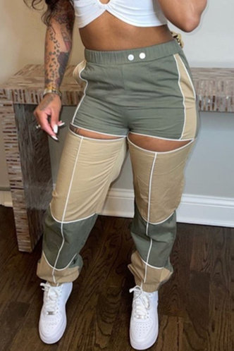 front_Mid Waist Hollow Out Cargo Pants Green And Khaki Pants