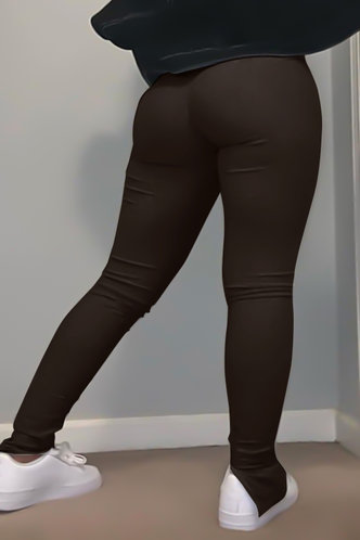 back_Mid Waist Brown Plus Size Pants