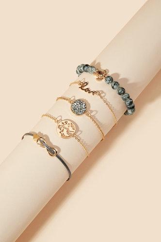 front_Thera Elaine Gold Letter & Earth Bracelet Set 5pcs