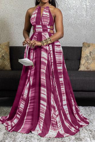 front_Barbie Elvira Purple Halter Cutout Dress