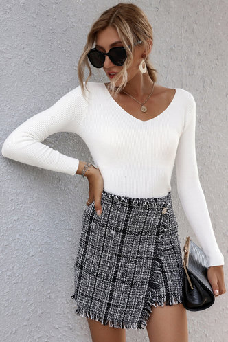 back_Feel The Volume Black And White Plaid Tweed Skirt