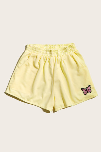 back_Like To Lounge Yellow Shorts