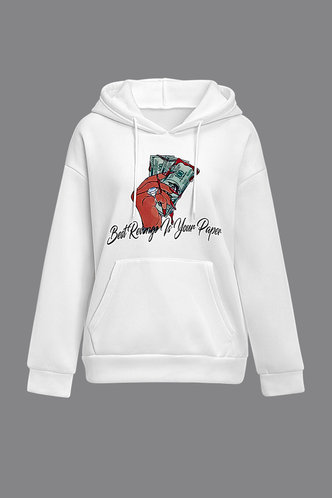 back_Hooded Collar Graphic Print Pocket Drawstring White Sweatshirts & Hoodies