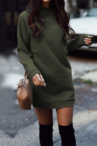 front_Above Knee Round Neck Regular Sleeve Army Green Dresses