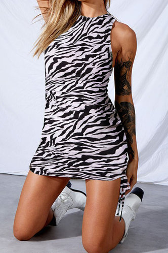 front_Gladys Karlan Zebra Striped Bodycon Dress