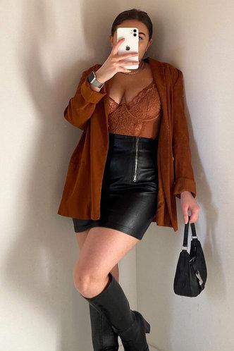 front_Donatella Black Mini Skirt