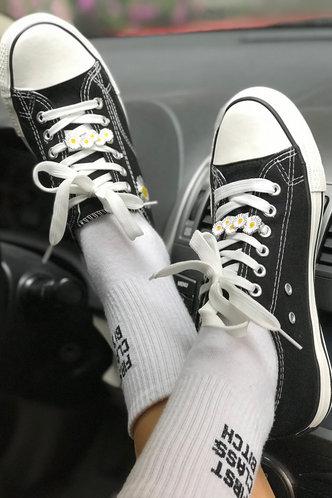 back_Plain Flat Round Toe Black Sneakers