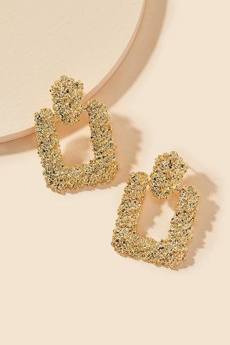 back_Lee Edwina Gold Textured Metal Earrings 1pair
