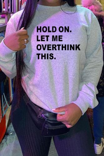 back_Vacation Street Crew Neck Letter Print Light Grey Sweatshirts & Hoodies