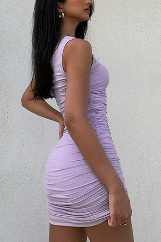back_Regan Edith Purple One Shoulder Ruched Dress