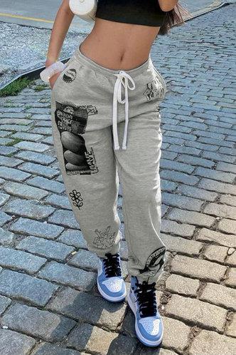 front_Mid Waist    Sweatpants  Light Grey Sweatpants