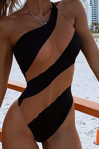 front_Essie Eleanore Black And Beige One-Piece Swimsuit
