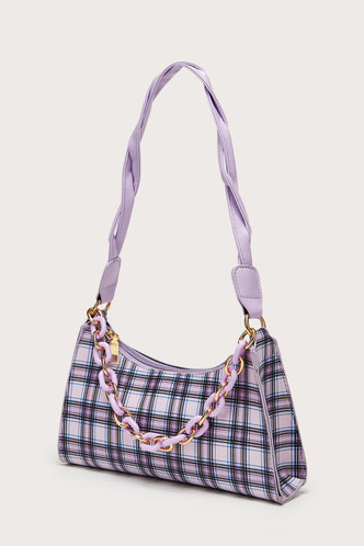 back_Daphne Edwina Purple Plaid Shoulder Bag