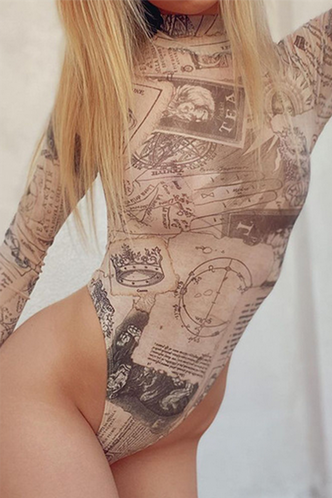 back_Rosemarie Elizabeth Beige Multi Print Bodysuit