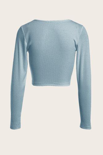 back_Long Sleeve Round Neck Baby Blue Tees