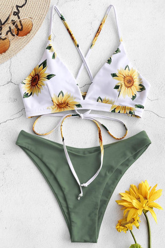 front_Estelle Edith Dusty Green And White Floral Print Bikini
