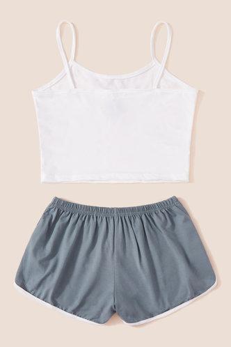 back_Elvira Montril White And Grey Loungewear Set