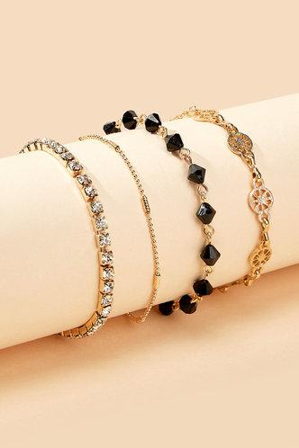 back_Amity Elsie Gold Rhinestone Charm Beaded Bracelet 4pcs
