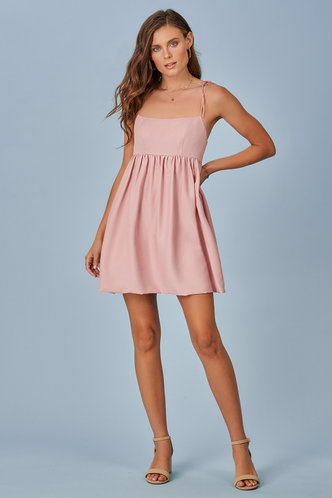 front_Summer Babydoll Grey Pink Mini Dress