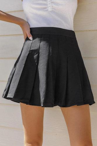 front_Josephine Eartha Black Pleated Skirt