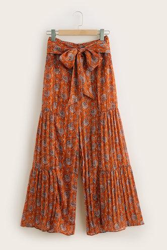 front_Ugo Burnt Orange Print Wide Leg Pants