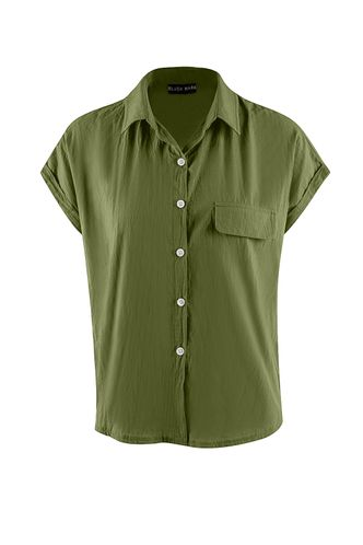 front_Meadowlake Army Green Short Sleeve Top