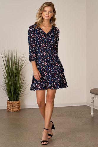 front_How Beautiful Dark Navy Floral Print Mini Dress