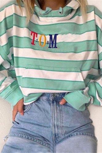 front_Eva Edwina Green And White Stripe Sweatshirt