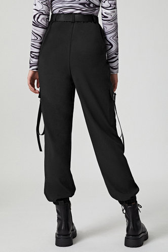 back_Strap Happy Black Cargo Pants