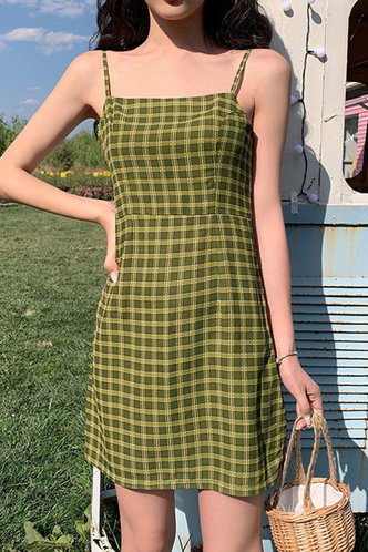 back_Babette Edith Olive Green Plaid Slip Dress