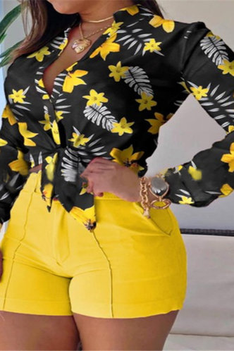 front_Lucy Elizabeth Black And Yellow Floral Print Tie Front Blouse