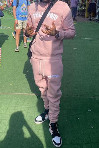 front_Sporty Letter Pink Men Pants Sets