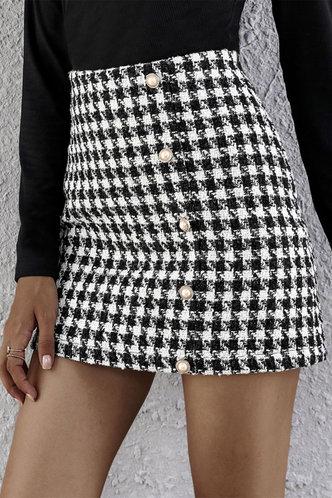 front_Kamaria Black And White Plaid Skirts