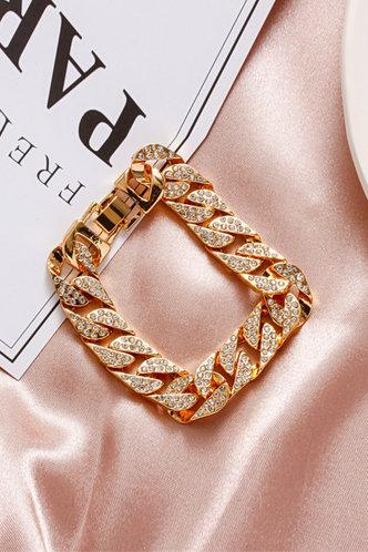 front_Gladys Gust Gold Rhinestone Charm Bracelet 1pc