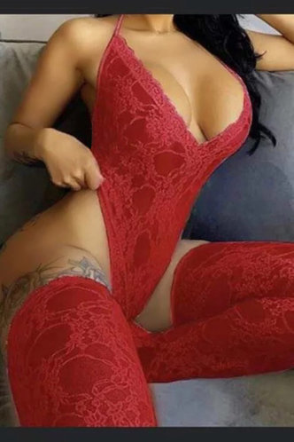 front_Elma Elvira Red Sexy Lingerie