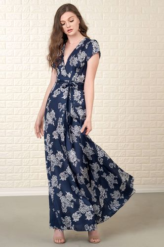 front_New and Fresh Navy Blue Floral Print Maxi Dress