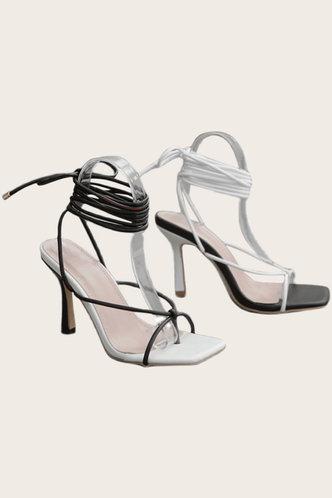 back_Anastasia Pluming Black And White Heeled Sandals
