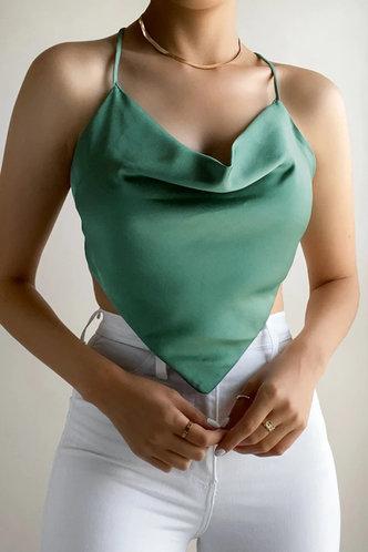 front_Genevieve Nakan Olive Green Halter Crop Top